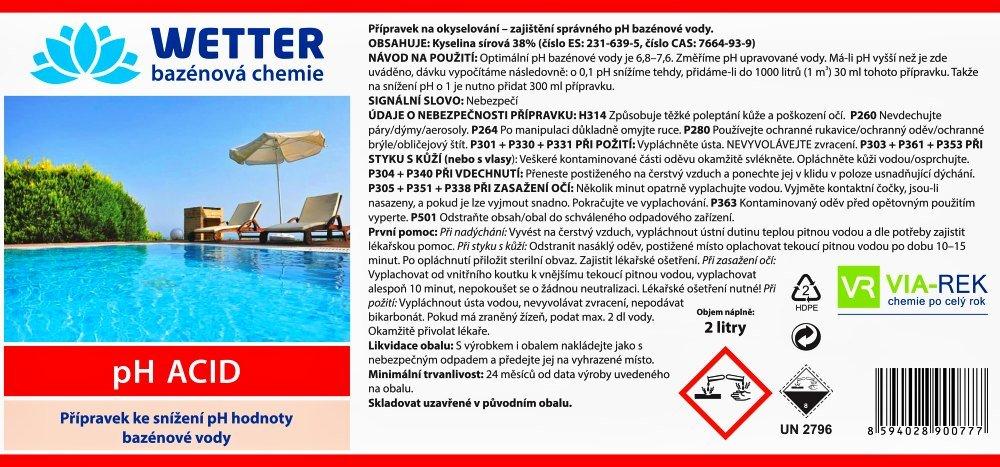 Tekuté pH minus 2 litry pro snížení pH v bazénu