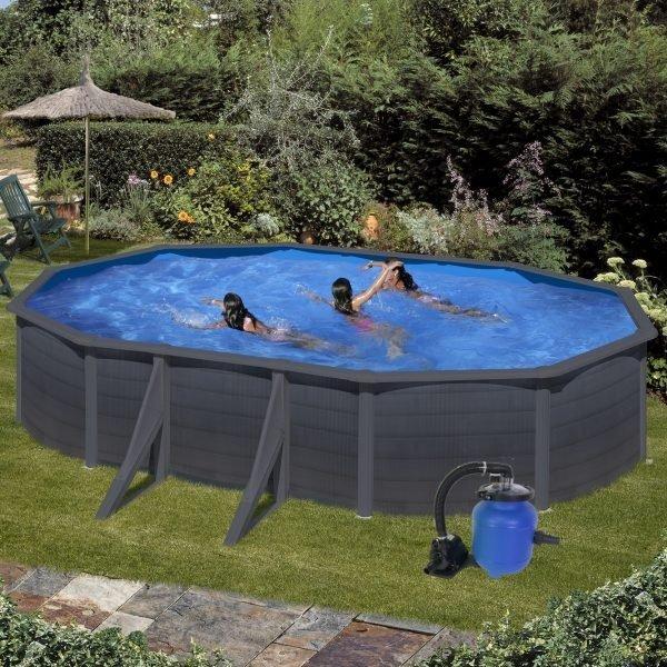 Nadzemní bazén GRE Graphite ovál 5 x 3 x 1,2 m s filtrací Aqualoon