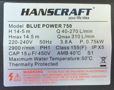 Štítek čerpadla Hanscraft Blue Power 750