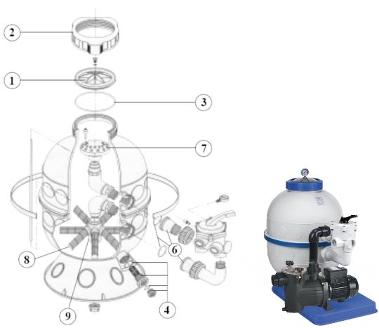 Náhradní díly pro filtraci Granada KIT 400 s bočním ventilem