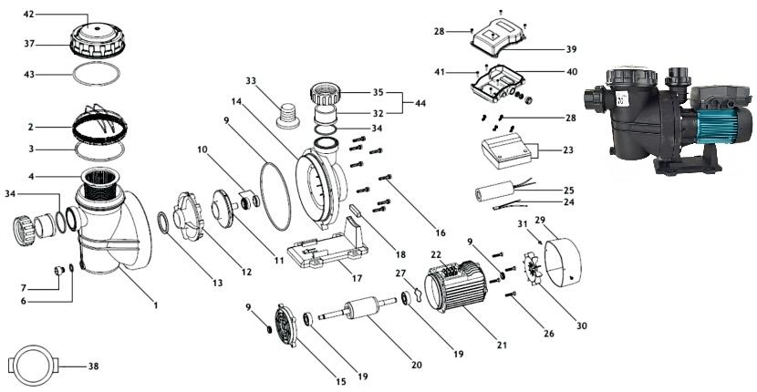 Náhradní díly pro čerpadlo ESPA Iris 500M