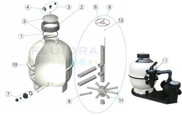 Náhradní díly pro filtraci Cantabric 500 boční ventil
