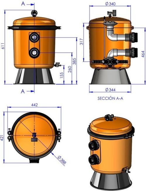 Písková filtrace Astralpool Bilbao 350 rozměr