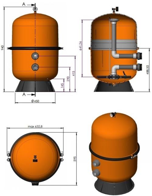 Bazénová filtrace Astralpool Bilbao 500 rozměry