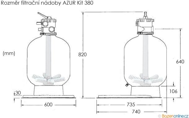 Rozměr filtrační nádoby AZUR KIT 380