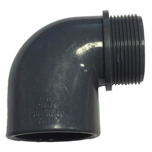 """Koleno 90° PVC 63 x 63 mm lepení/vnější závit 2"""""""