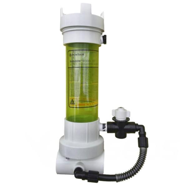 Průhledný dávkovač na bazénové tablety na potrubí