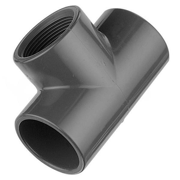 """T – Kus 90° PVC 50x50x50 mm lepení/vnitřní závit 1 1/2"""""""