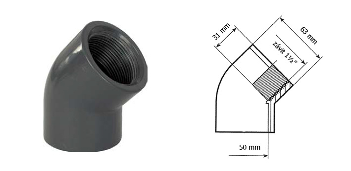 PVC koleno 45 lepení 50mm závit