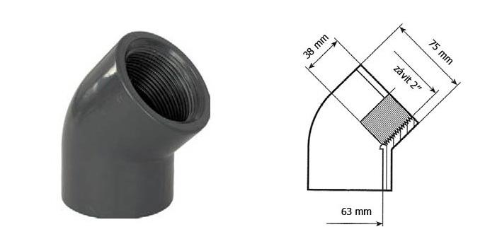 Koleno 63 mm lepení závit