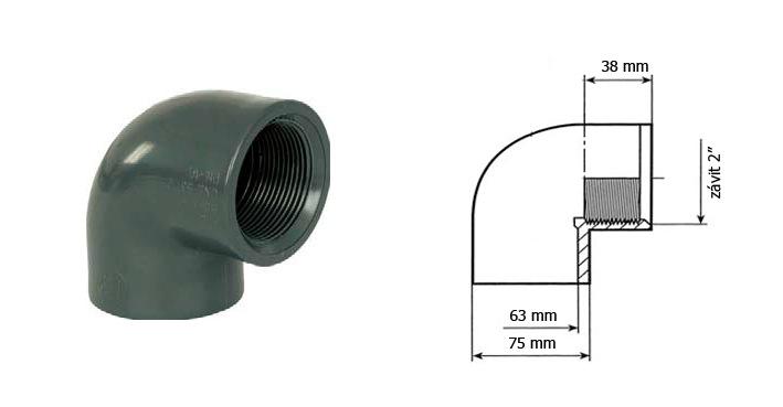 Koleno 63 mm lepení vnitřní závit
