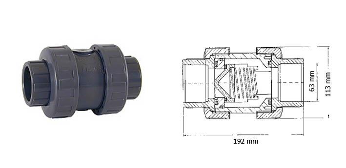 Bazénová zpětná klapka 63 mm