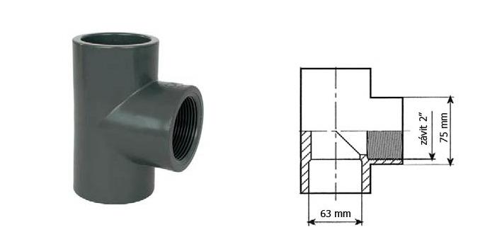 Bazénový t-kus 63 mm lepní závit