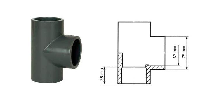 Bazénový t-kus 63 mm lepení lepení