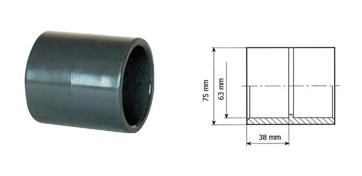 Spojka bazénové trubky 63 mm